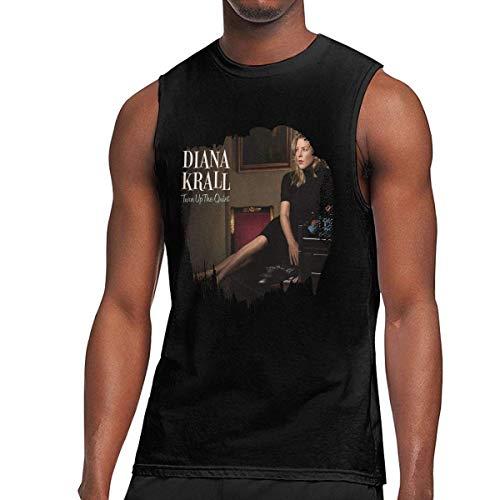 iqingzhongbai Diana Krall Herren Turn Up The Quiet ärmellose Weste T-Shirt Muscle Tank schwarz, Trägerloser Large