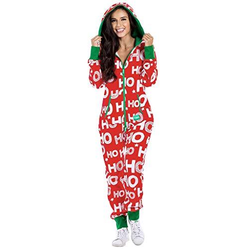 LoveLeiter Damen Schlafanzug Strampelanzug Schlafoverall Kuscheliger Winter Warm Jumpsuit Weihnachten Gedruckt Ganzkörper für Erwachsene, Onesie, Hausanzug,Pyjama Overall Mit Kapuze