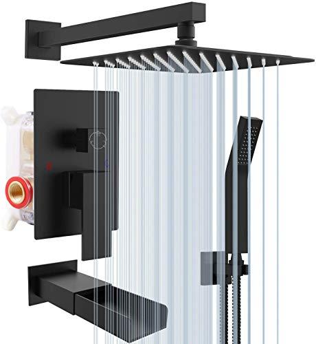 Rainsworth Negro Mate Sistema de Ducha 3 Funciones - Grifos de Ducha Empotrados Set de Ducha - Tecnología de Inyección de Aire Ducha de Lluvia con Ducha Fija, Ducha de Mano Sistema Ducha 12 in