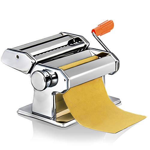 Homdox Fresh Pasta Maker, Stainless Steel Pasta Roller Machine Cutter with Clamp for Spaghetti Noodle Lasagna Tagliatelle
