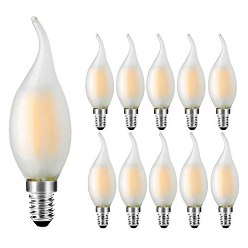 10er Pack E14 Kerze Lampe, Birne C35 Filament Fadenlampe, Warmweiß(2700K), 4W Ersetzt 30W, 300lm,Nicht Dimmbar