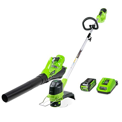 Greenworks G-MAX 40V Cordless String Trimmer and Leaf Blower Combo Pack, 2.0Ah Battery and Charger Included STBA40B210