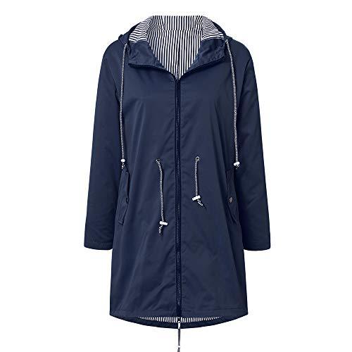 Linkay Damen Regenjacke Wasserdicht Atmungsaktiv Leichter Kapuzen Trenchcoats Windjacke mit Einstellbarer Kapuze für Sommer und Herbst (Marine,XXXX-Large)