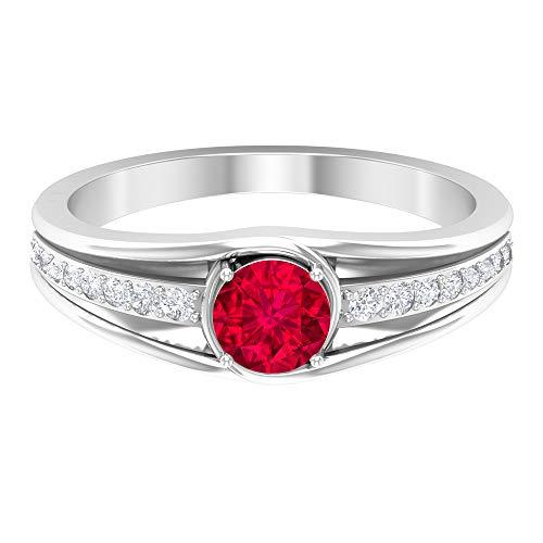 Anillo de amatista de 5 mm, anillo de diamante HI-SI, anillo solitario con piedra lateral, anillo de compromiso de bypass, anillo de promesa simple para ella, 14K White Gold, Amethyst, Size:US 54