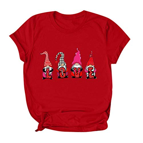 KANGMOON Valentine's Day Shirt Buffalo Plaid Love Heart Graphic Tees Letter Print Short Sleeve Tops Shirts for Women Red
