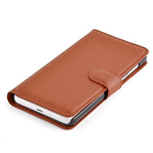 Cadorabo Hülle für Honor 6 - Hülle in Schoko BRAUN – Handyhülle mit Kartenfach und Standfunktion - Case Cover Schutzhülle Etui Tasche Book Klapp Style - 6