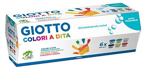 Giotto 534100 - Estuche 6 botes pintura a dedos, 100 ml cada uno, colores surtidos