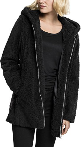 Urban Classics Damen Ladies Sherpa Jacket Kapuzenpullover, Black, XL