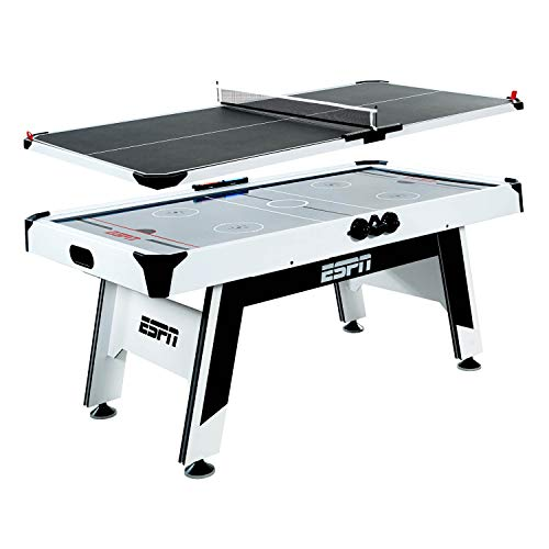 ESPN Sports Air Hockey Game Table: 72 Inch Indoor Arcade Gaming Set with Electronic Overhead Score System, Sound Effects