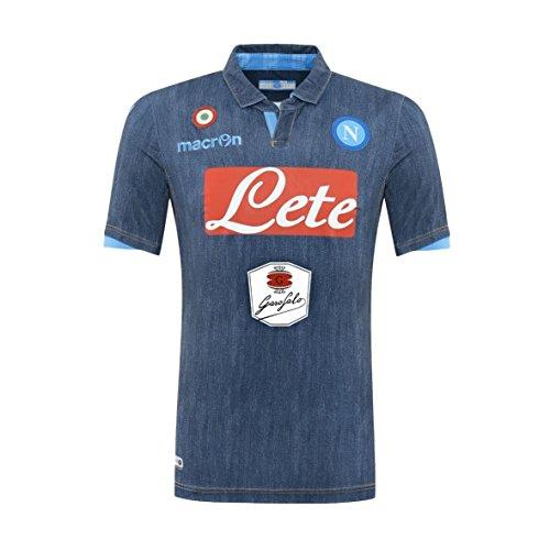Macron Maglia calcio Gara SSC Napoli Away Denim 2014/15 Prodotto Ufficiale Garofalo Naples Blue Jeans