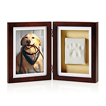 Pearhead Dog or Cat Paw Print Pet Keepsake Photo Frame With Clay Imprint Kit Perfect Keepsake Frame for Pet Lovers 21406 Espresso