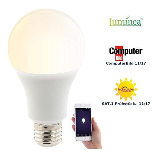 Luminea Home Control WLAN Birne: WLAN-LED-Lampe, für Alexa, Siri & Google Assistant, E27, 1.050 lm, CCT (Smart Lampe)