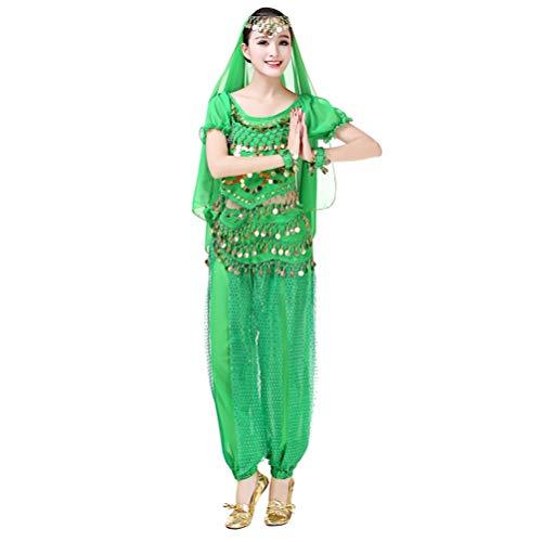 U/A Mujer 5pcs Disfraz de Danza del Vientre Lentejuelas Borlas Traje de Carnaval de Halloween (Pantalones Harem de Gasa + Cinturn con Monedas + Crop Tops + Velo + Cadena de Mano) - Verde