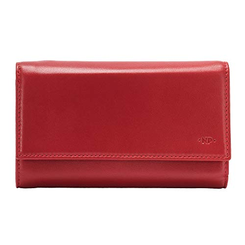 Nuvola Pelle Portafoglio Donna Grande Capacità in Vera Pelle Multitasche con Portamonete Porta Carte di Credito Rosso