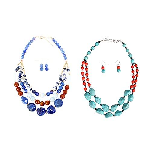 Juego de 2 conjuntos de collar bohemio de varias capas con cuentas turquesas y pendientes largos de piedra anudada para mujeres y niñas