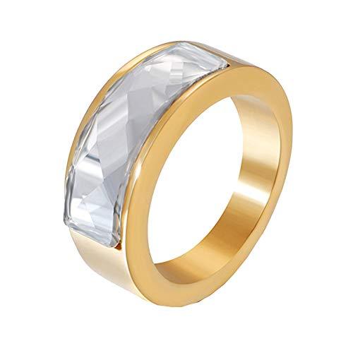 PAURO Hombre Mujer Acero Inoxidable Joyas 8MM Anillo de Piedras Preciosas Promesa de Compromiso Alianza de Boda Oro Transparente Tamaño 14