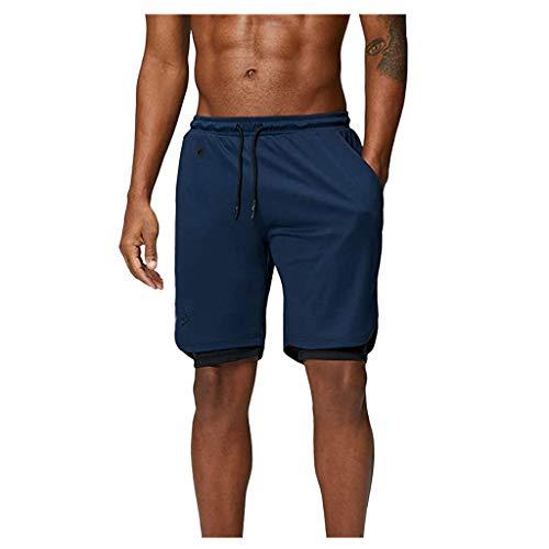 Inawayls Shorts Herren Sport Sommer 2 in 1 Kurze Hosen Schnelltrocknende Laufshorts Fitness Joggen und Training Sporthose mit Tasch