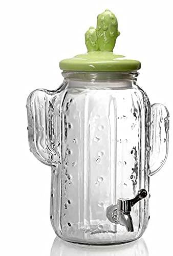 Kasahome Tarro de cristal dosificador a grifo tapón tapa cactus de cocina tarros dosificadores casa 25 x 37 cm