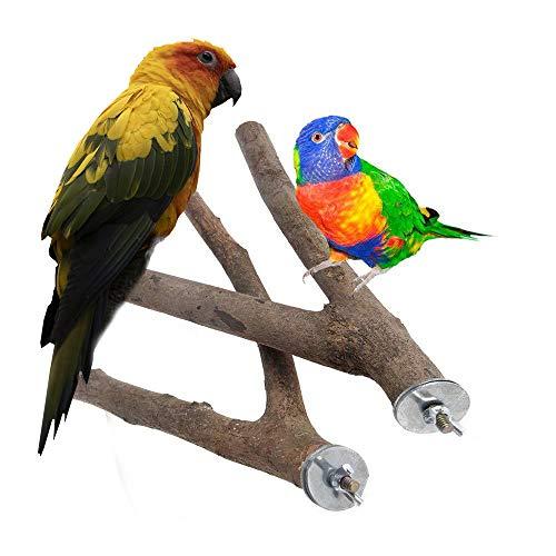 DEDC 2 Pcs Soporte de Madera para Jaula de Pájaros, Ramas de Madera Natural para Jaulas de Loro