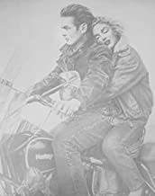 ImpactInt Marilyn Monroe and James Dean on Harley Motorcycle Art Print Poster (22x28 Inch)