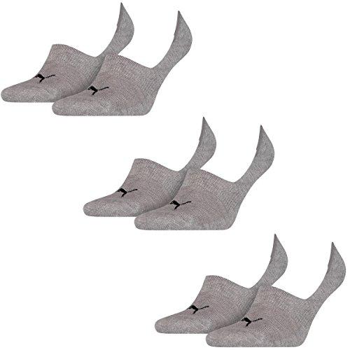 6 Paar Puma Socken Footie Sportsocken Invisible Gr. 35 - 46 Unisex, Farbe:758 - middle grey mélange, Socken & Strümpfe:39-42
