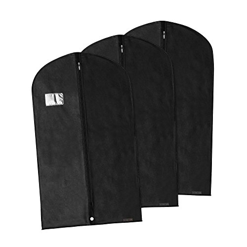 Hangerworld - Pack de 3 Fundas Transpirables para Trajes Negro -100cm