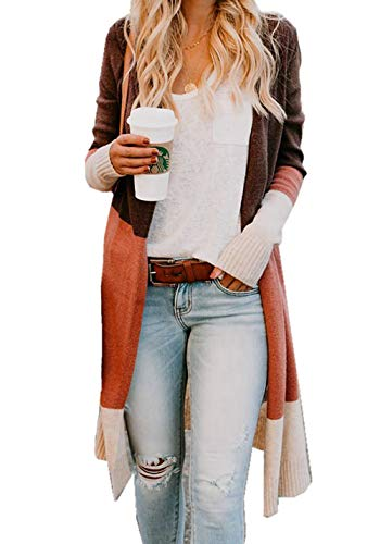 ZIYYOOHY Damen Cardigan Pullover Lang Rainbow Kontrastfarbe Strickmantel Sweatjacke Pulli Mantel Stricken (XL(42), Rainbow)