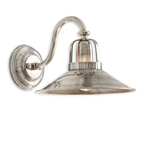 Loberon Wandlampe Timeon, Messing, H/B/T/Ø 21/26,5/34 / 26,5 cm, antiksilber, E27, max. 40 Watt, A++ bis E
