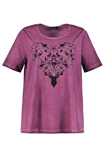 Ulla Popken Damen große Größen T-Shirt, Hirsch mit Ziernieten, Halbarm dunkle Beere 46/48 724299 57-46+