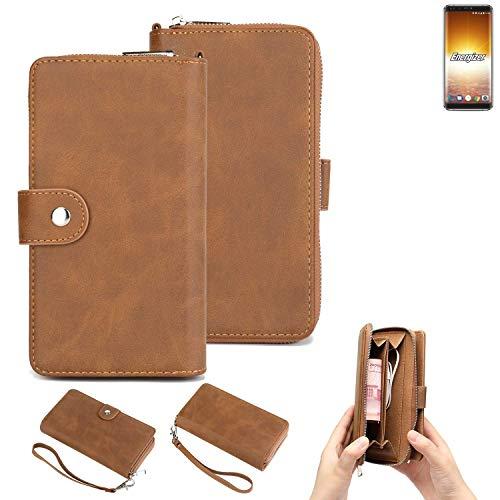 K-S-Trade 2in1 Handyhülle Für Energizer P600S Schutzhülle und Portemonnee Schutzhülle Tasche Handytasche Hülle Etui Geldbörse Wallet Bookstyle Hülle Braun (1x)
