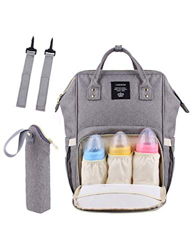 KHBHJ Sac De Maman Grand Sacs À Couches Design Fashion Nappy Backpack pour Maman Imperméable Big Baby Bag, Gris