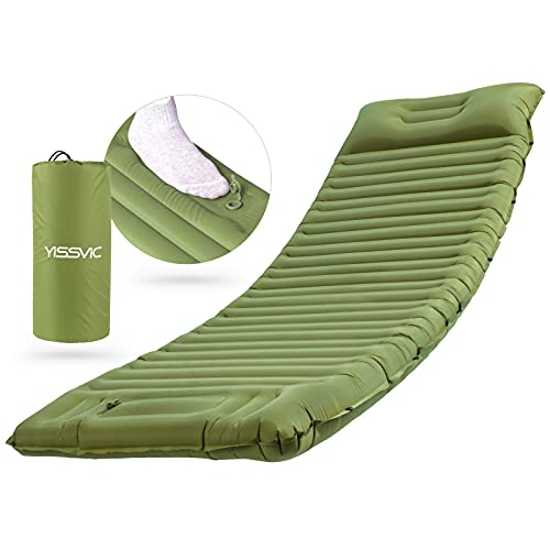 YISSVIC Isomatte Camping Selbstaufblasbare Luftmatratze mit eingebauter Pumpe 10CM Dick Schlafmatte Outdoor mit Kissen für Wandern Reisen Armee grün