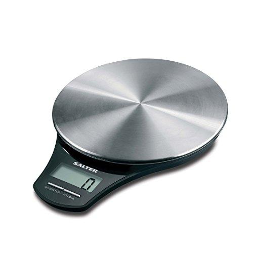 Salter digitale Küchenwaage Edelstahl - Elektronische Waage Digitalwaage für die Küche, Wiegen von Lebensmitteln mit einer Kapazität von 5kg, Flüssigkeiten in ml und fl. Oz., genaue Messung