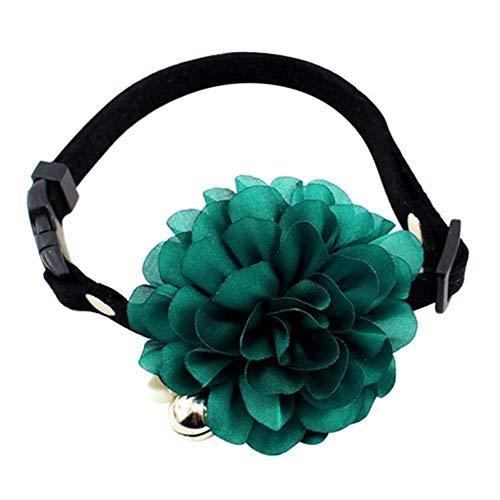 GOUSHENG Halsbandje Huisdier 7 kleuren bloem kat hondenhalsband halsketting leer hond klok huisdier hondenhalsbanden Rose halsband kraag Py, Medium, Gb