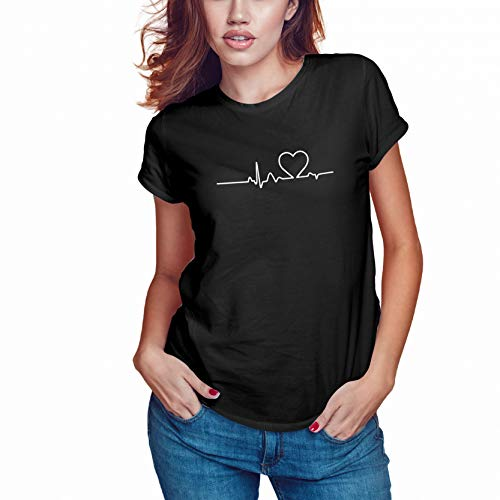 WGC Heartbeat Love Sign Casual Summer Camiseta Negra Mujer Size XXL