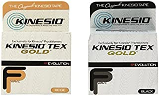 Kinesio Tex Gold Tape 2 x 16.4' Beige & Black Combo Pack by Kinesio