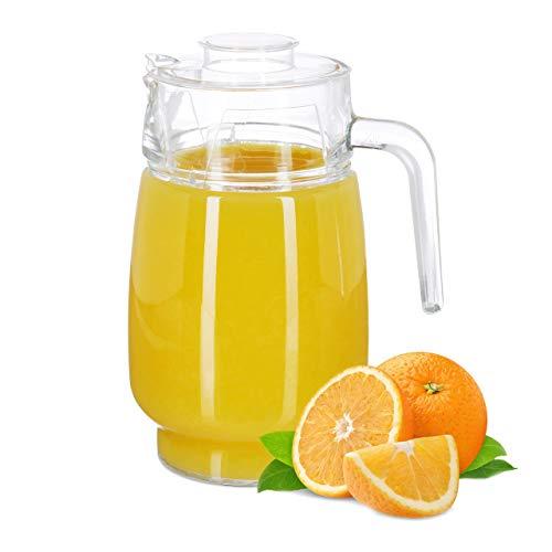 Relaxdays Jarra de cristal con tapa, Mango ergonómico, Apto para lavavajillas, 1,3...