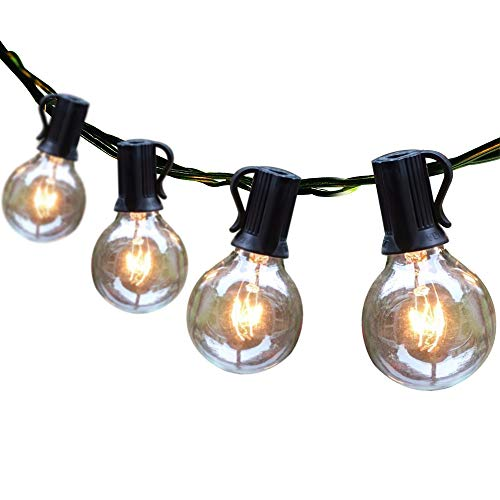 Outdoor String Lights 50ft Patio Lights with 55 G40 Bulbs (5 Spare), Connectable Globe String Lights for Party Tents Patio Gazebo Porch Deck Bistro Backyard Balcony Pergola Decor, Black Wire