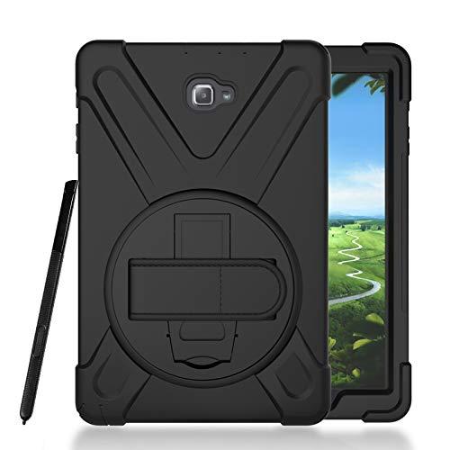 Funda para Galaxy Tab A 10.1 P580/P585 con S Pen Caso, resistente a los golpes, silicona resistente resistente con soporte giratorio y correa de mano para Galaxy Tab A6 10.1 SM-P580/P585, color negro