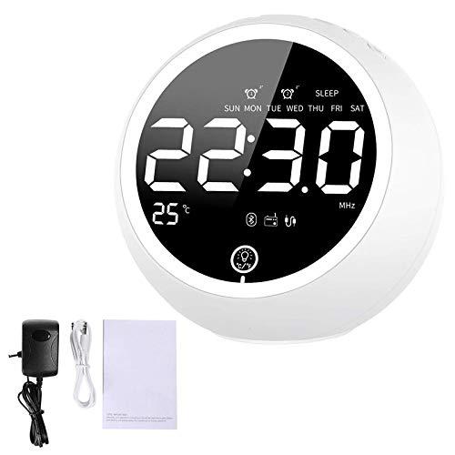 Despertador Reloj Despertador para Dormitorios Pesados Altavoces Bluetooth Despertador Radio con Dos Cargador USB Reloj Despertador para Dormitorios con FM Digital Blanco