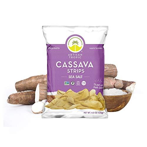 Paleo Snacks - Cassava Chips - Baked Chips - Sea Salt Chips - Gluten Free Chips - Vegan Chips - Cassava Flour Chips - Vegan Gluten Free Snacks - ARTISAN TROPIC Cassava Strips - 4.5 Oz - 12 Pack
