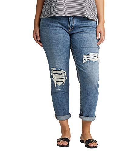 Silver Jeans Co. Women's Plus Size Boyfriend Mid Rise Jeans, Destroyed Indigo, 16W X 27L