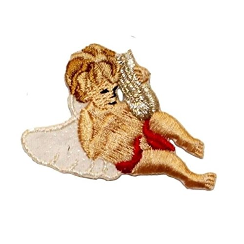 ID 0161C Angel Playing Harp Patch Flying Music Embroidered Iron On Applique