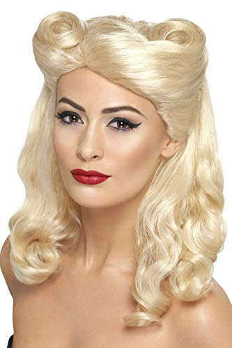 Smiffys Damen 40er Jahre Schulterlange und Gewellte Perücke mit Hochsteck-Tolle, Pin-Up Perücke, Blond, One Size, 43215