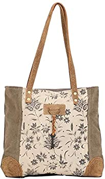 Myra Bag Unique Key Upcycled Canvas & Cowhide Tote Bag S-1522 Brown,