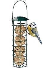 Relaxdays 10025047 - Mangiatoia per uccelli selvatici, da appendere, con tetto, in ferro, 31 cm, colore: verde scuro