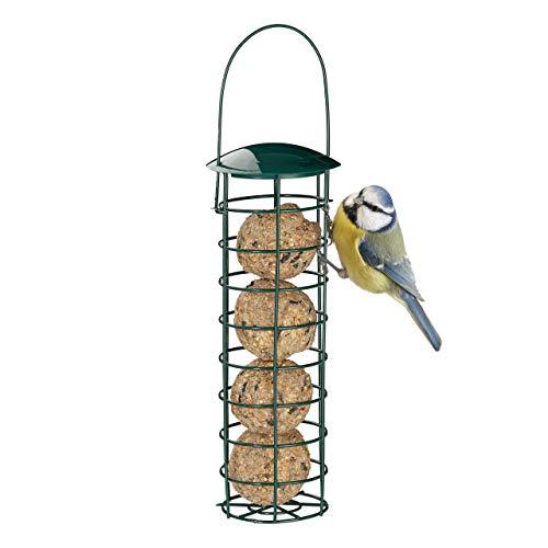 Relaxdays 10025047 Meisenknödelhalter zum Aufhängen, Futterspender für Wildvögel, Futtersäule mit Dach, Eisen, 31 cm, dunkelgrün
