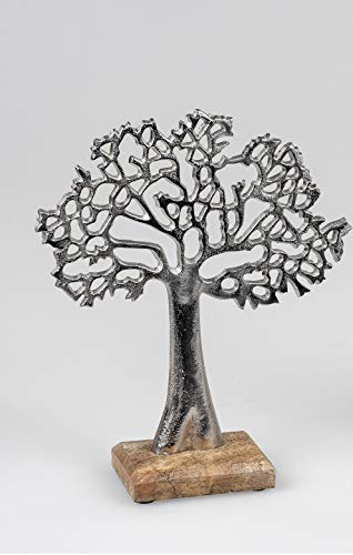 Formano Lebensbaum aus Aluminium mit Mangoholz ca. 27 cm Dekoration Baum