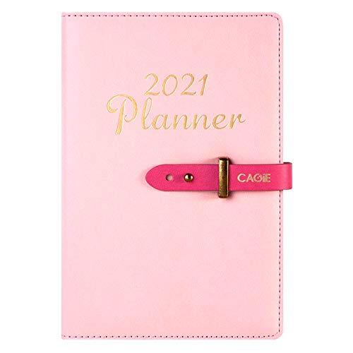 2021 - Agenda semanal de piel sintética, tamaño A5, planificador mensual, agenda de trabajo, calendarios para profesores, citas para hombres y mujeres, color rosa
