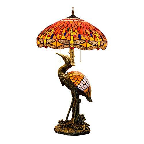 """CHENZA Lámpara de Mesa Tiffany, 20""""Tiffany Style Male Bird Desk Desk Lamp Crimson Dragonfly Glass Schapshade for la Sala de Estar Estudio de la Mesa de la Mesa de la Mesa"""